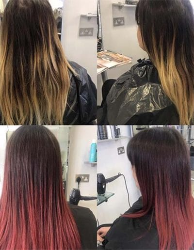 Ombré blond to red