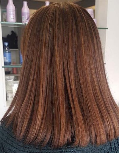 Soft copper highlights with a base of warm chestnut brown