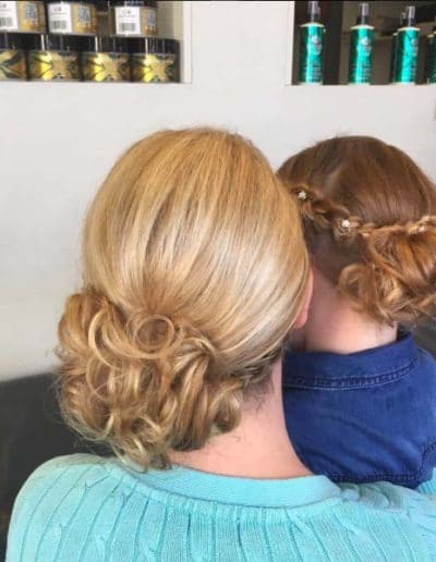 Wedding hair for bride and bridesmaid